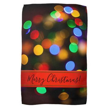Multicolored Christmas lights. Add text or name. Towel