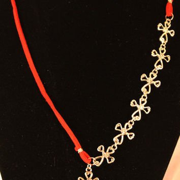 Necklace Red Suede Leather with Seven Pewter by SeventhChild