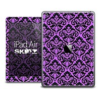 The Mirrored Purple and Black Pattern Skin for the iPad Air