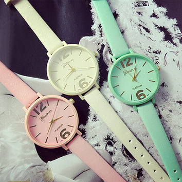 Candy Faux Leather Watch