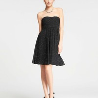 Polka Dot Georgette Strapless Dress