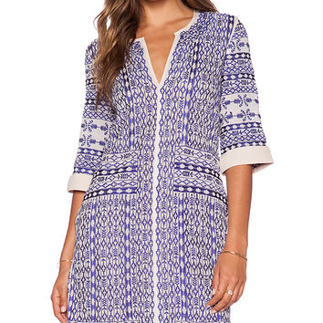 Love Sam Jacquel Embroidered Dress in Blue