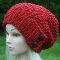 Hand Knit Hat Women's Hat -slouchy -beanie hat- chunky red with two black buttons