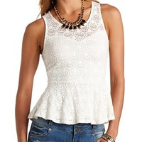 BRUSHED LACE SLEEVELESS PEPLUM TOP