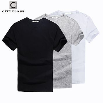 City Class mens summer solid t shirt brand clothing cotton comfortable male t-shirt tshirt short sleeves 2-pack harajuku 7546