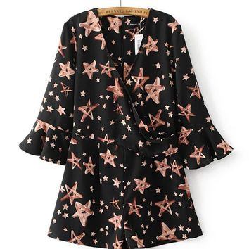 Streetstyle  Casual V-Neck Printed Star Romper With Bell Sleeve