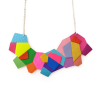 Neon Colorful Polygon Geometric Bib Necklace in Rainbow Colors | Boo and Boo Factory - Handmade Leather Jewelry