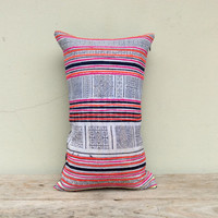 """Vintage Cotton Tribal Hand Print Patch Work Pillow Case 12"""" x 20"""" Pieces Of Retro Tribal Costume"""