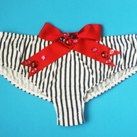 MERMAID / Navy and white panties with embroidered red bow / Made to order