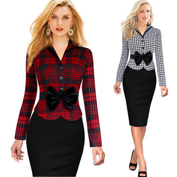 Stylish Flannel Ribbon Work Dress