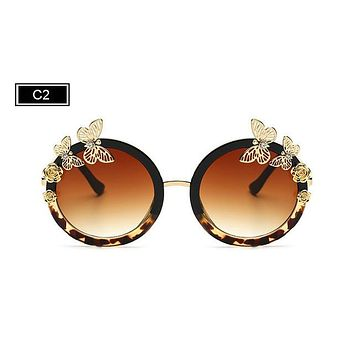 Sunglasses Butterfly Embellished Frame