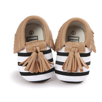 GIRL'S DESIGNER WHITE & BLACK STRIPED WITH BEIGE MOCCASINS