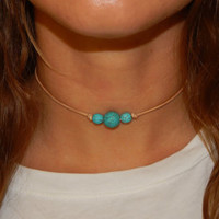 Tan Leather Turquoise Triple Bead Choker Necklace