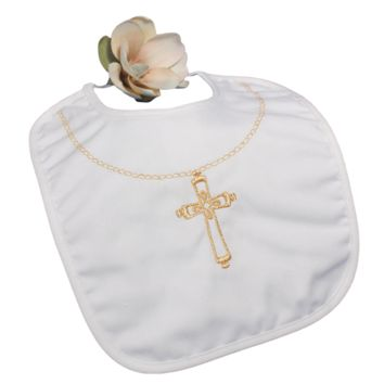 Cross Necklace Embroidery Handmade Large White Cotton Christening Bib (Infant Boy or Girl)