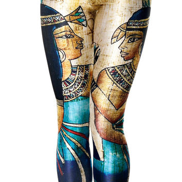 Bulk New Style Egyptian Pharaoh Cleopatra Digital Printing Fitness Leggings Milk Silk Fitness Workout Legging For Joggers 4XL