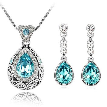 tiger totem free shipping high quality austrian drop water Crystal new design fashion jewelry sets necklace earrings accessories