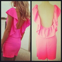 Scoop back neon pink bodycon dress