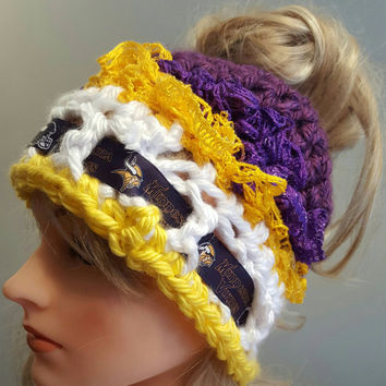 Crochet Vikings bun hat. Made by Bead Gs on ETSY.  Ladies Size.