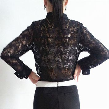 PEAPGB2 Real Photos Female Hollow out Long Sleeve Black Lace Shirt Spring Summer Fashion Translucent Casual Women Sexy Lace Shirts