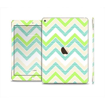 The Vibrant Green Vintage Chevron Pattern Skin Set for the Apple iPad Air 2