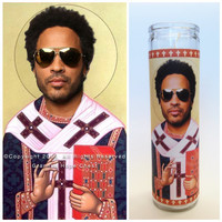 "Lenny Kravitz Prayer Candle. Saint Kravitz! Great Gift! 3 Colors Available! 9"" Tall."