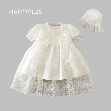HAPPYPLUS Newborn Baby Girl's Christening Dress + Gown Set Embroidery Baptism Outfits Wedding Baby Dresses Birthday 1 2 Years