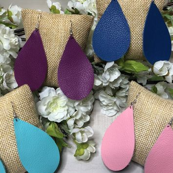 Spring Drops ~ Leather Earrings ~ Multi Colors