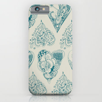 Blue and beige zentangle heart pattern iPhone & iPod Case by /CAM