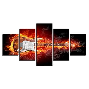 5 Panel Burning Guitar Panel Wall Art Canvas Picture Rock Electric Music Poster