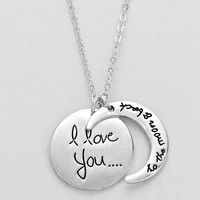 I Love You To The Moon Necklace Silver
