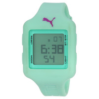Puma PU910792009U Womens Digital Dial Light Green Rubber Strap Chronograph Watch