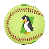 Cute penguin cartoon baseball
