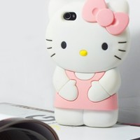 3D Hello Kitty Cute Soft Silicone Back Skin Case Cover for Apple iPhone 4 4S 4G Pink