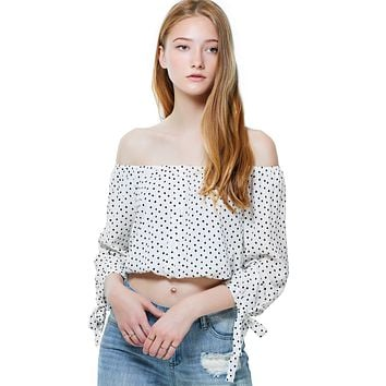 Polka Dot 3/4 Sleeve Off Shoulder Button Down Blouse Top with Tie Cuff
