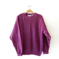 vintage purple sweater. oversized slouchy pullover. cable knit sweater. size XXL