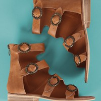Buckled Strappy Open Toe Gladiator Flat Sandal