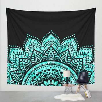 High Quality 530G Green Lotus Mandala Tapestry Black and Blue Boho Indian Hippie Hanging Wall Tapestries Life Wall Art Carpets