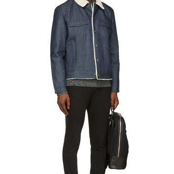 A.p.c. Blue Denim And Shearling Brandon Jacket