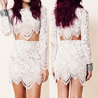 White Long Sleeve Lace Crop Top with Cut Out Lace Skirt