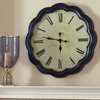 Navy Scalloped Metal Clock with Glass