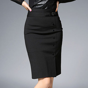 Spring Woman Bandage Skirt Knitted Fabric Female Pencil Skirt Office Style