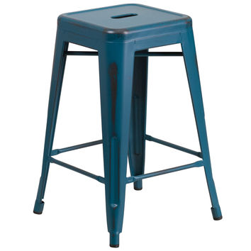 24'' High Backless Distressed Kelly Blue Metal Indoor-Outdoor Counter Height Stool