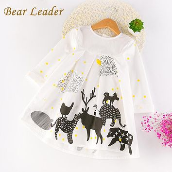 Bear Leader Girls Dress 2017 New Autumn Girls Clothes Long Sleeve Animal Printing Design for Children Clothing 3-7Y Girls Dress