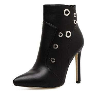 Winter Sexy women Pumps Female stiletto Side zipper Rivets pointed toe High heels with ankle boots high heels shoes