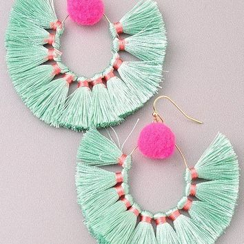 HAVANA SWEETHEART FRINGE HOOP EARRINGS- MINT+PINK