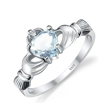 Natural Healing Aquamarine Heart Ring in Sterling Silver