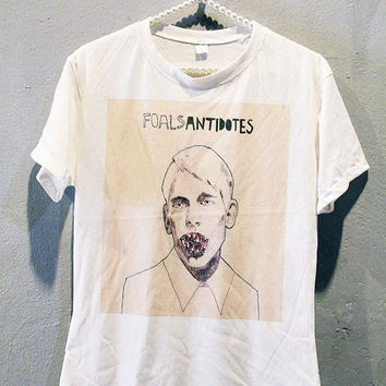 FOALS Shirt Antidotes Indie Rock Band T-Shirts Off White Women Size L