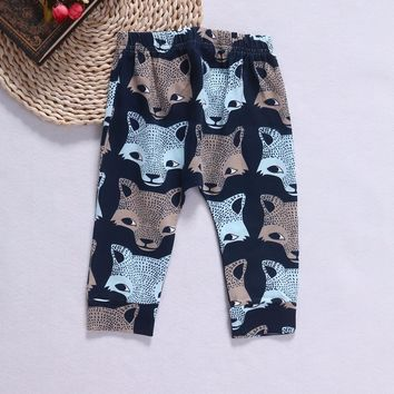 Spring Summer&Autumn Infant Kids Boys Girls Wolf Pattern Long Trousers Soft Cotton Loose Sweatpants Fashion 3-24 Months Pants