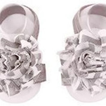Shabby Chic Baby Toddler Barefoot Sandal Gray Chiffon Flower Elastic Foot Wear  2 Pc 1 Pair New Item