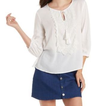 White Crochet-Bib Tie-Neck Top by Charlotte Russe
